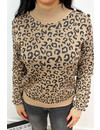 GREY - 'NATALIA' - LEOPARD KNITTED SWEATER
