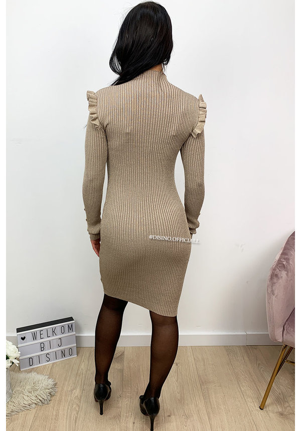 BEIGE - 'GLITTERLY LUCIA' - RIBBED GOLD BUTTON RUFFLE DRESS