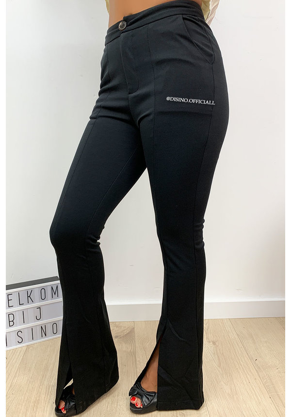 BLACK - 'RILEIGH' - HIGH WAIST PANTS WITH FRONT SPLIT