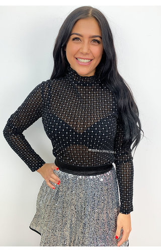 SILVER - 'SARAH' - SILVER DOTTED MESH TOP