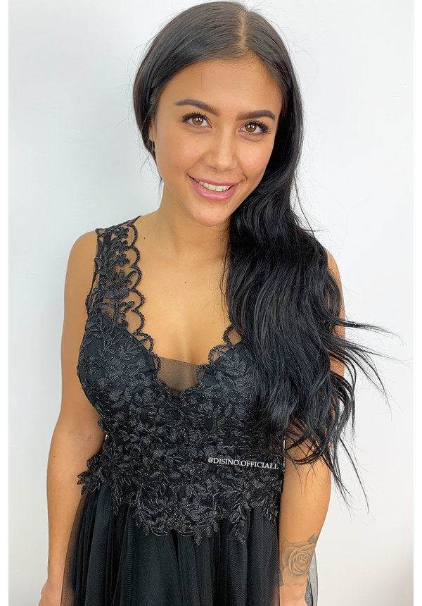 BLACK - 'AMALIA' - CROCHET LACE MESH DRESS