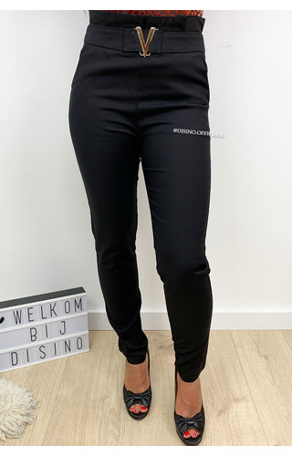 BLACK - 'VALERIE' - HIGH WAIST V-BELTED CLASSY PANTS
