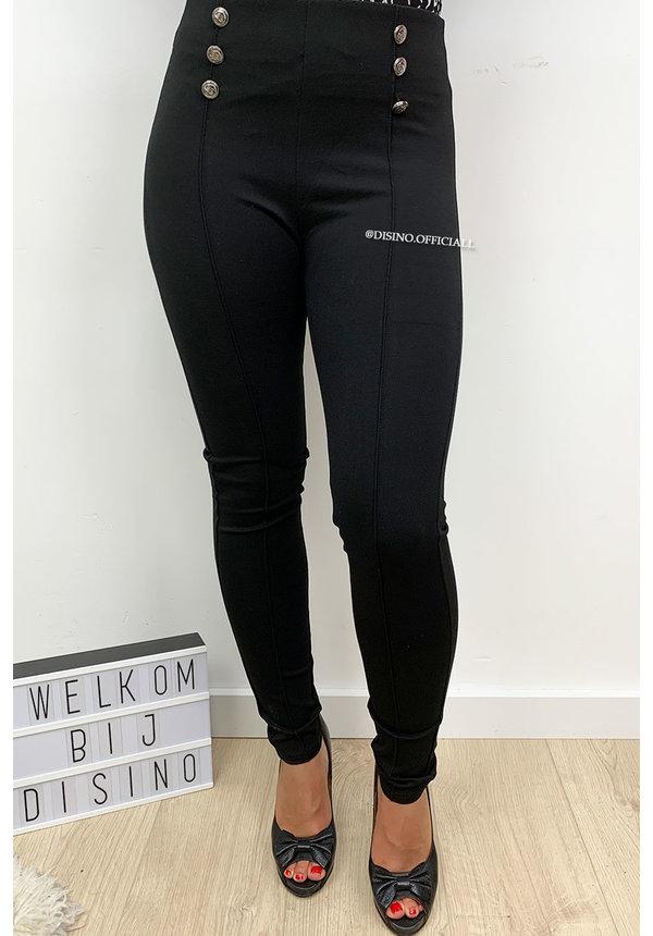 BLACK - 'BETTY' - HIGH WAIST BUTTON TREGGING PANTS