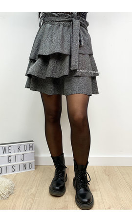 SILVER - 'ABIGAIL' - SPARKLE LAYERED RUFFLE SKIRT