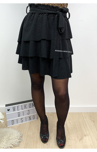 BLACK - 'ABIGAIL' - SPARKLE LAYERED RUFFLE SKIRT