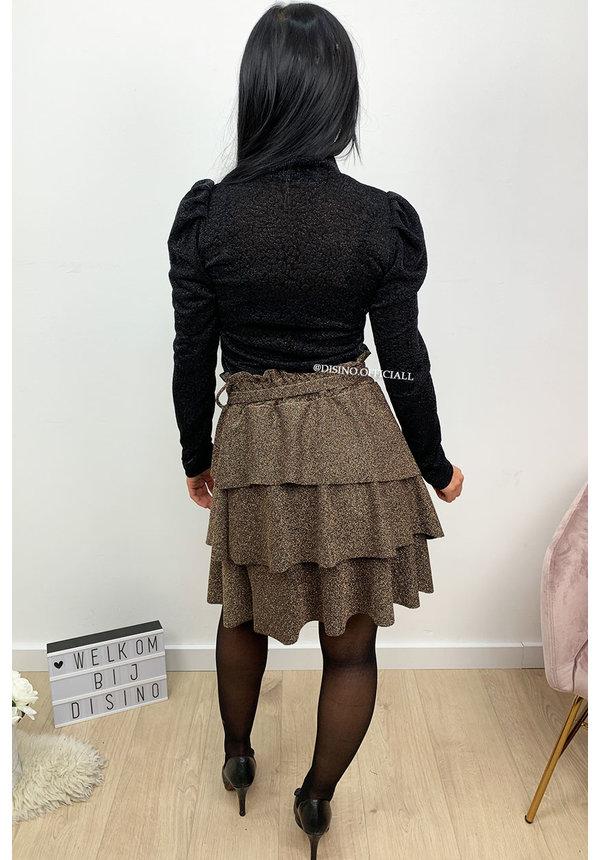 BLACK - 'DEMI' - SPARKLE LEO PUFF SHOULDER TOP