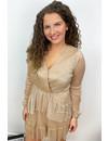 BEIGE - 'ELSA' - SILKY LAYERED RUFFLE DRESS