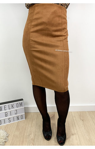 CAMEL - 'GIANA' - HIGH WAIST SUEDINE PENCIL MIDI SKIRT