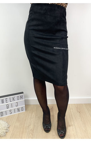 BLACK - 'GIANA' - HIGH WAIST SUEDINE PENCIL MIDI SKIRT