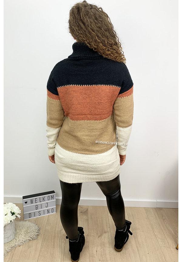 CAMEL - 'NAYA' - PREMIUM QUALITY STRIPED COL DRESS