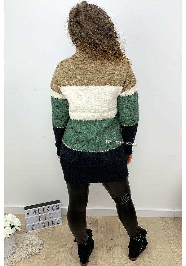 GREEN - 'NAYA' - PREMIUM QUALITY STRIPED COL DRESS