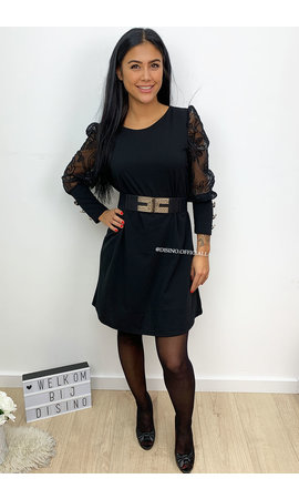 BLACK - 'BLISS' - APPLICATION LACE SLEEVE DRESS