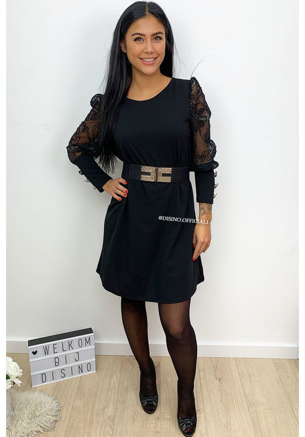 BLACK - 'BLISS' - APPLICATION LACE SLEEVE DRESS