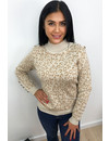 BEIGE - 'NATALIA' - LEOPARD KNITTED SWEATER