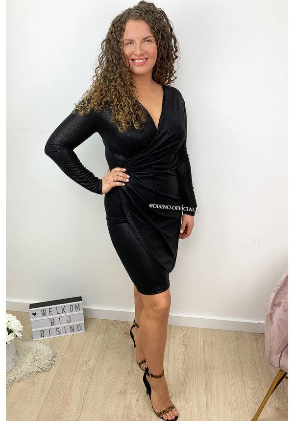 BLACK - 'IVANA' - METALLIC DRESS