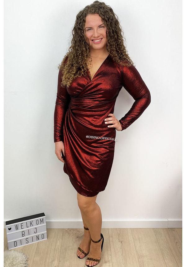 RED - 'IVANA' - METALLIC DRESS