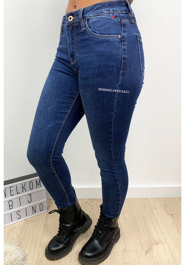 QUEEN HEARTS JEANS - DARK BLUE - PERFECT SKINNY MID WAIST - 9525