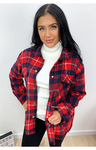 RED - 'SIEN' - OVERSIZED FLANNEL BLOUSE
