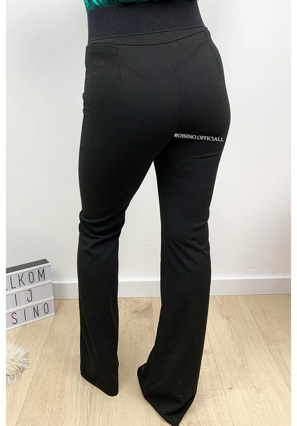 BLACK - 'RILANA' - SEAM FRONT FLARED PANTS