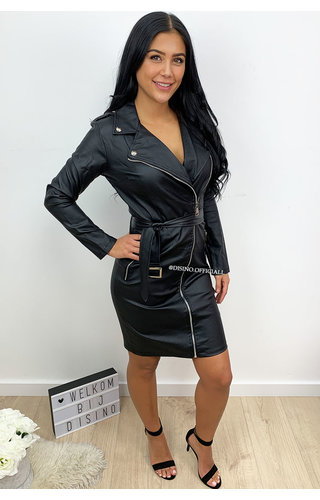 BLACK - 'NATASJA' - VEGAN LEATHER ZIPPER DRESS