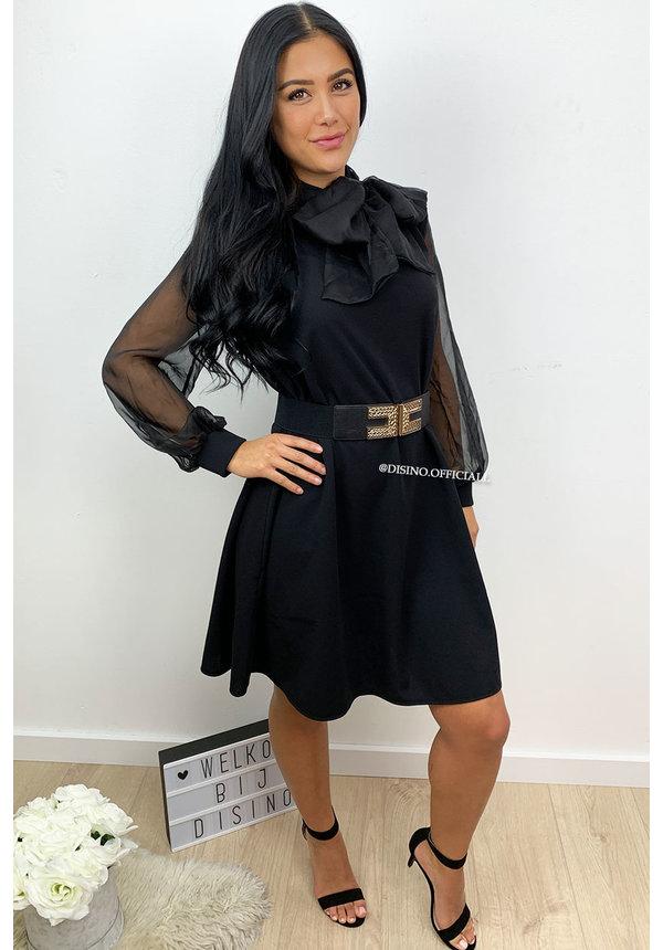 BLACK - 'XAVA' - MESH 'N KNOT SLEEVE DRESS