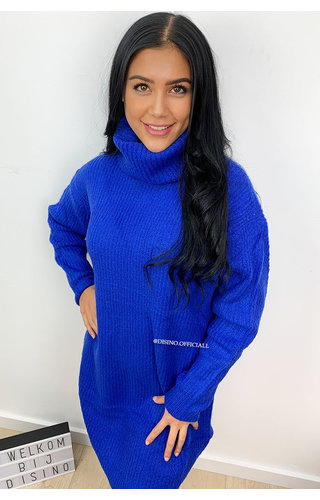 ROYAL BLUE - 'EMMIE' - PREMIUM QUALITY OVERSIZED COL KNIT DRESS