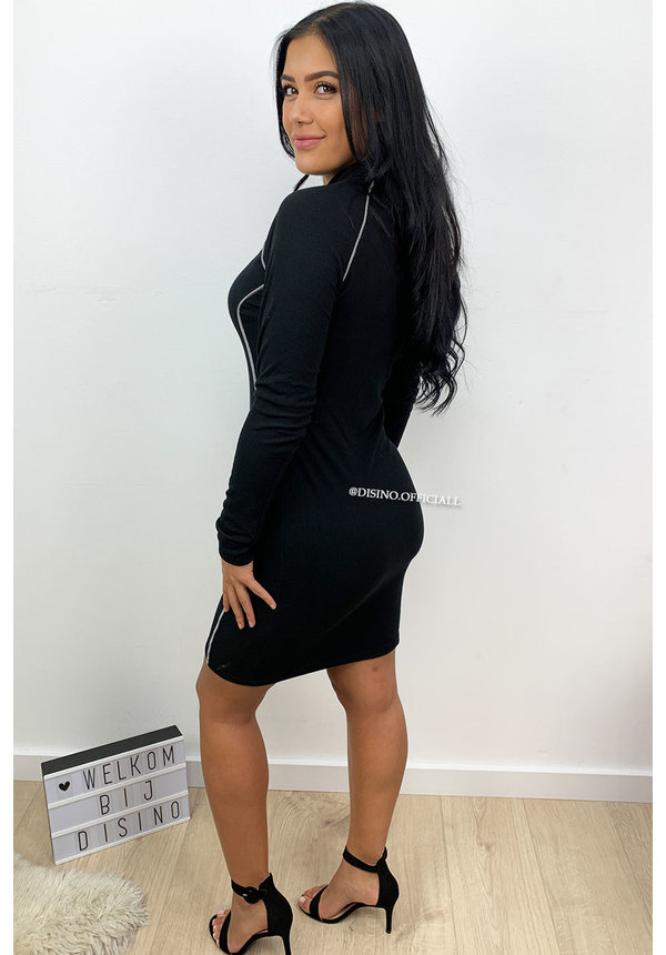 BLACK - 'KEIRA' - REFLECTIVE LINES BODYCON DRESS