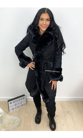 BLACK - 'TABITHA' - SUPER QUALITY SUEDINE FUR COAT LONG