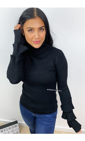 White Icey BLACK - 'TRUMPET TOP' - SOFT TOUCH TRUMPET SLEEVE TOP