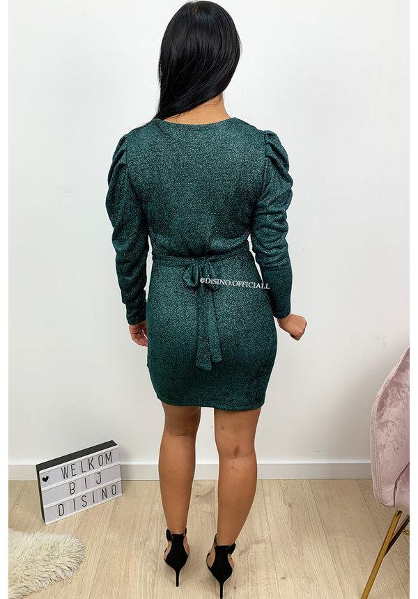 GREEN - 'AIMÉE' - SOFT SOFT TOUCH LONG SLEEVE DRESS