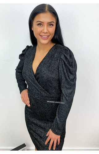 BLACK - 'AIMÉE' - SOFT SOFT TOUCH LONG SLEEVE DRESS