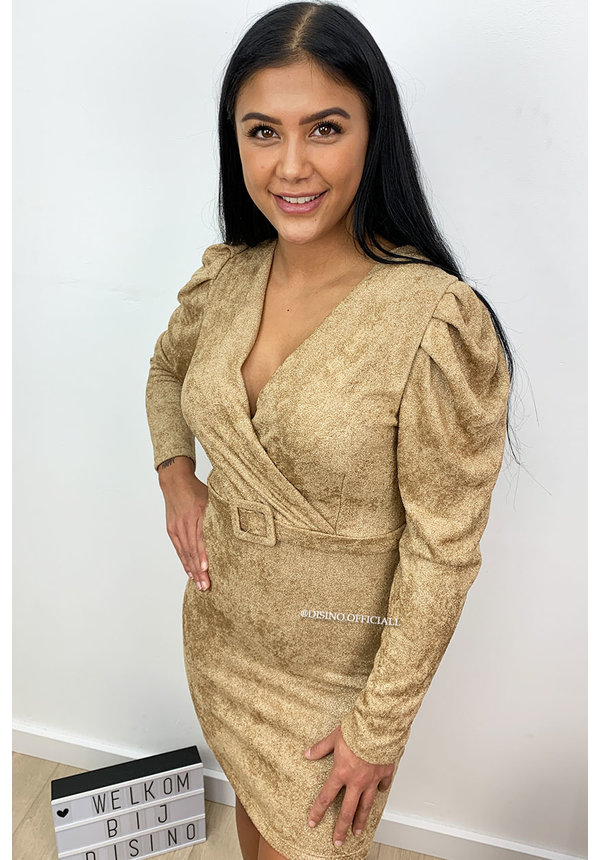 BEIGE - 'AIMÉE' - SOFT SOFT TOUCH LONG SLEEVE DRESS