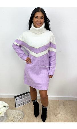 LILA - 'FAYLYNN DRESS' - PREMIUM QUALITY STRIPED KNIT COL DRESS