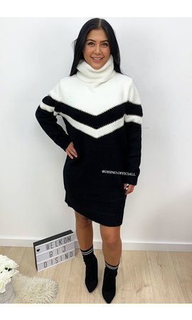 BLACK - 'FAYLYNN DRESS' - PREMIUM QUALITY STRIPED KNIT COL DRESS