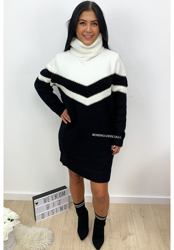 BLACK - 'FAYLYNN DRESS' - PREMIUM QUALITY STRIPED KNIT COL DRESS