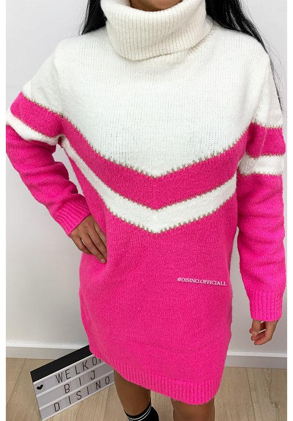 FUCHSIA - 'FAYLYNN DRESS' - PREMIUM QUALITY STRIPED KNIT COL DRESS