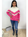 FUCHSIA - 'FAYLYNN' - PREMIUM QUALITY STRIPED KNIT