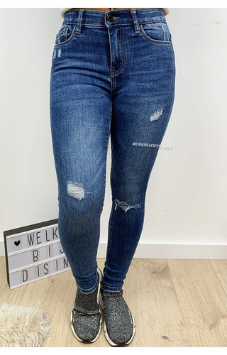QUEEN HEARTS JEANS - BLUE - HIGH WAIST SKINNY ELASTIC BAND - 710