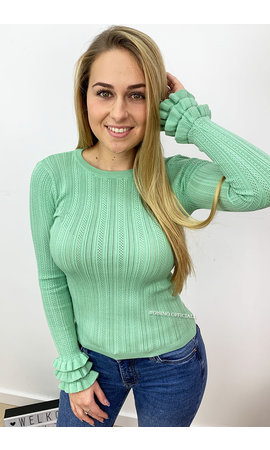 MINTGREEN - 'LISANNE' - RIBBED RUFFLE SLEEVE TOP