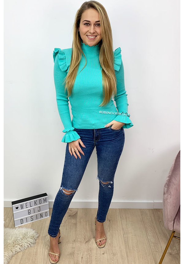 TURQUOISE - 'LIES' - RIBBED RUFFLE TOP