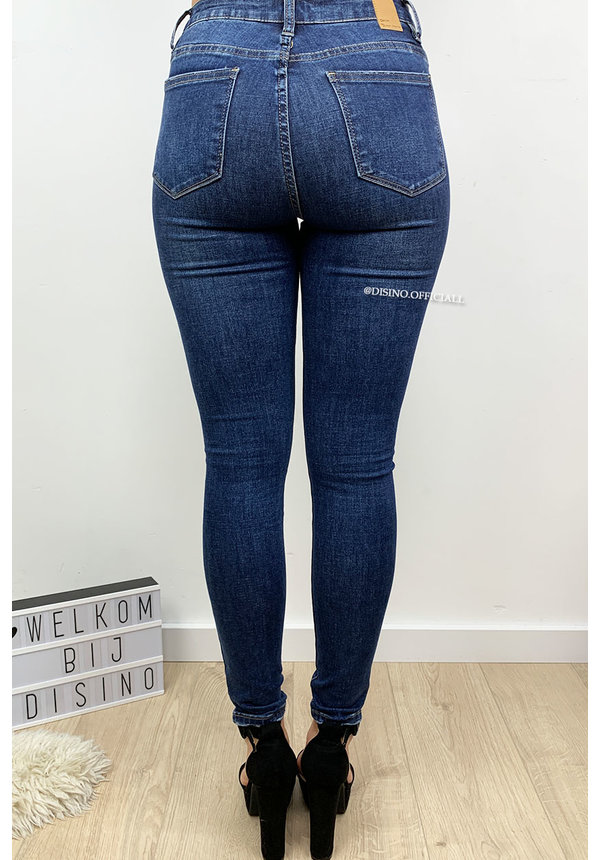 QUEEN HEARTS JEANS - DARK BLUE - RIPPED SKINNY HIGH WAIST - 691