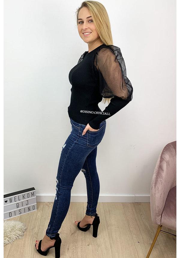 BLACK - 'LINA' - RIBBED MESH SHOULDER TOP