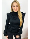 BLACK - 'OLSEN TOP' - SOFT TOUCH INSPIRED RUFFLE TOP