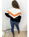 ORANGE - 'LAUREN' - SOFT V STRIPED KNIT