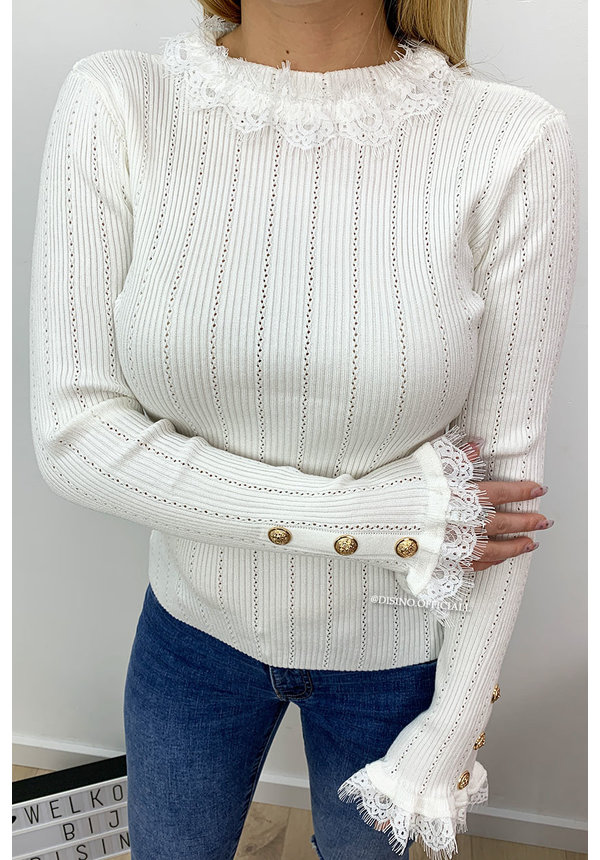 WHITE - 'EMILIE' - CUTE RUFFLE TOP