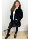 BLACK - 'FLUFFY DIVA' - SOFT FAUX FUR COAT