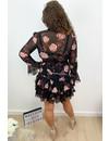 BLACK - 'ROSA' - FLORAL LAYERED RUFFLE DRESS