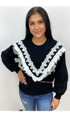 BLACK - 'DALIAH' - LACE RUFFLE SWEATER