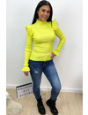LIME - 'LIES' - RIBBED RUFFLE TOP