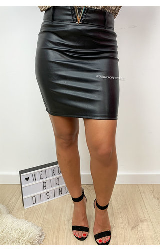 BLACK - 'VALERIE SKIRT' - V BELTED VEGAN LEATHER SKIRT
